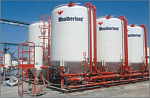 Stationary pressurized cement warehouses